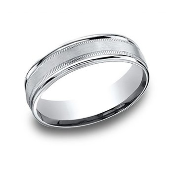 14KW Light Comfort Fit 6.5 mm Satin Milgrain Band, Size 9