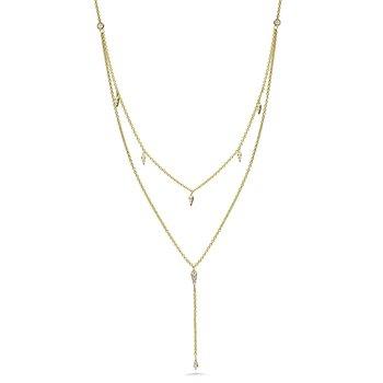 "14KY Diamond Station Lariate Pendant w/ 0.21 ctw 16"" Chain"