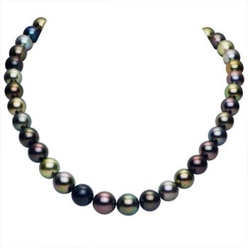 """14KW Natural Color Tahitian Necklace w/  9 -- 11.5 mm Pearls, Ball Clasp, 18"""" Chain"""