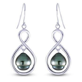 Sterling Silver Tahitian Cultured Pearl Drop Earrings w/ 8 -- 9 mm Pearls