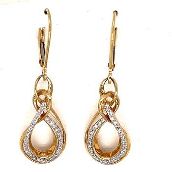 10KY Diamond Lever Earrings w/ 0.25 ctw