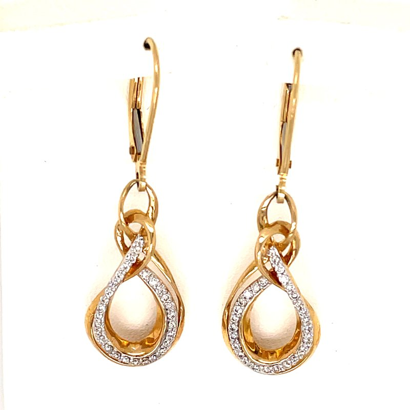 Green Brothers Collection 10KY Diamond Lever Earrings w/ 0.25 ctw