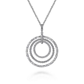 Sterling Silver Triple Row Circle Pendant Necklace with White Sapphire