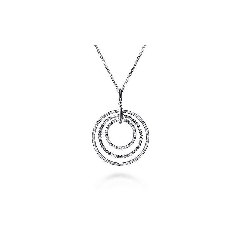 Gabriel & Co. Sterling Silver Triple Row Circle Pendant Necklace with White Sapphire