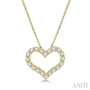 "14KY Diamond Heart Pendant w/ 0.25 ctw 18"" Chain"