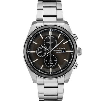 Stainless Steel Solar Chronograph Watch w/ Black Face