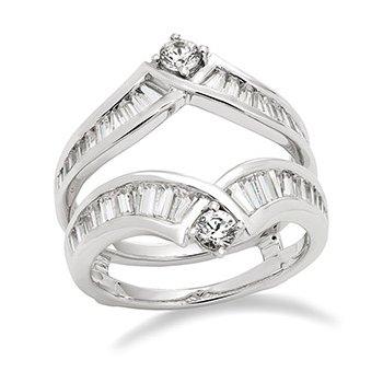 14KW Diamond Baguette Ring Guard w/ 1.5 ctw, Size 7