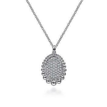 Sterling Silver White Sapphire Pave Center & Bujukan Bead Frame Pendant Necklace