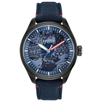 Stainless Steel Marvel Eco-Drive Watch w/ Blue Straps