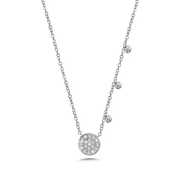 14KW Diamond Circle Necklace w/ 0.20 ctw and Extension Chain