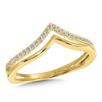 14KY Diamond Double V shaped Fashion Ring w/ 0.13 ctw
