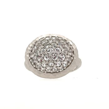 Sterling Silver White Sapphire Hammered Ring Size 7