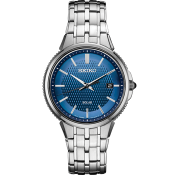 Stainless Steel Solar Watch w/ Blue Face
