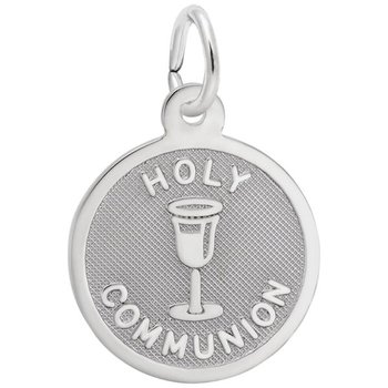 Sterling Silver Holy Communion Cup Round Pendant