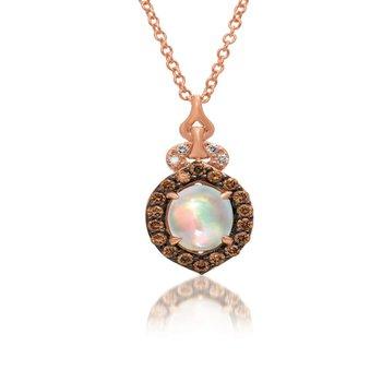 "14KR Opal & Diamond Pendant w/ 0.19 ct Diamond & 0.4 ct Opal, 18"" Chain"