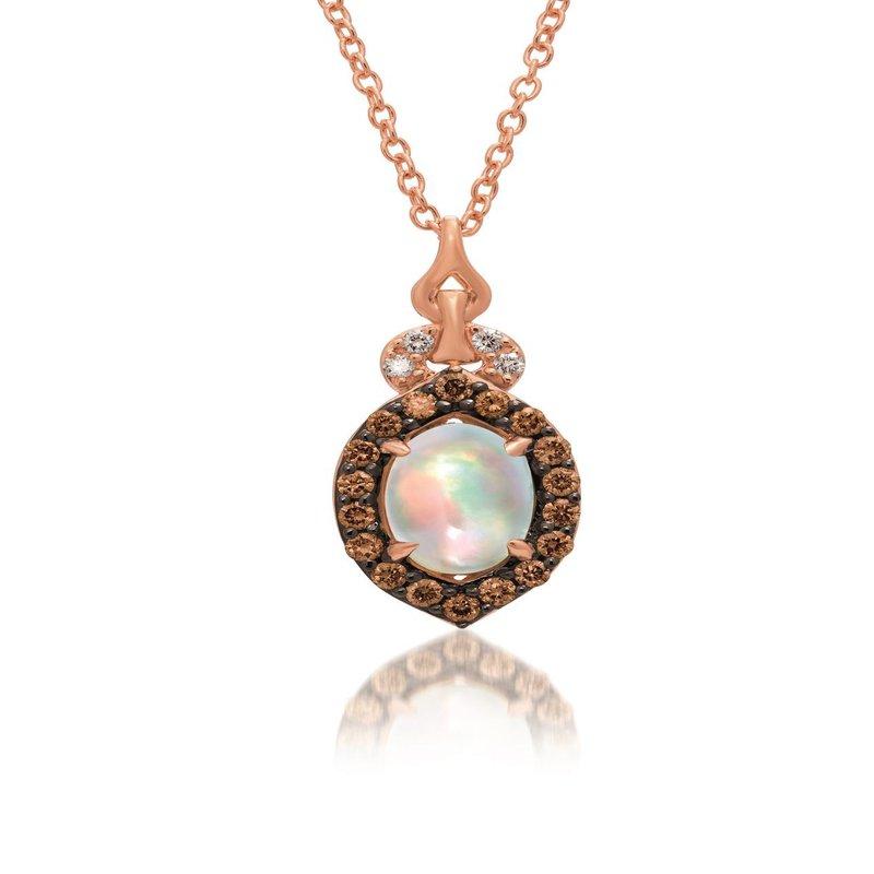 """Le Vian In Stock 14KR Opal & Diamond Pendant w/ 0.19 ct Diamond & 0.4 ct Opal, 18"""" Chain"""