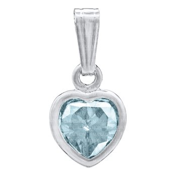 Sterling Silver March CZ Heart Pendant Baby