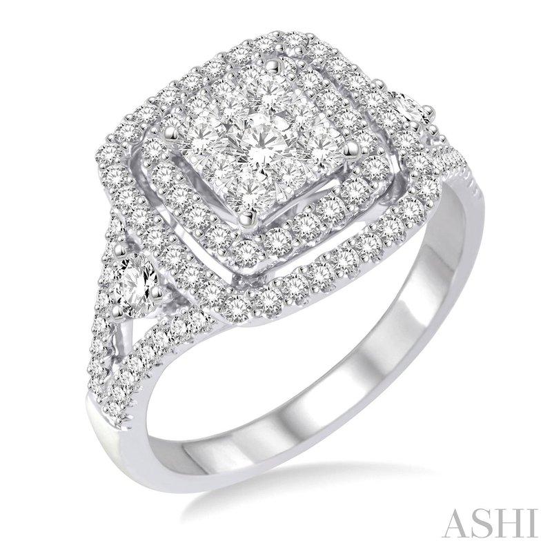 14KW Lovebright Square Shape Diamond Ring w/ 1.30 ctw Size 6.75