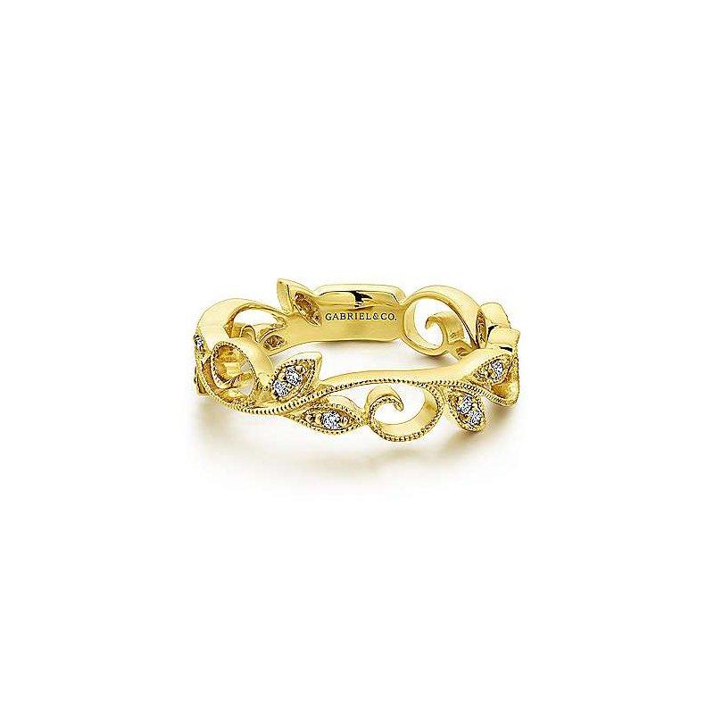 Gabriel & Co. 14KY Diamond Fashion Leaf Ring w/ 0.09 ctw Size 6.5