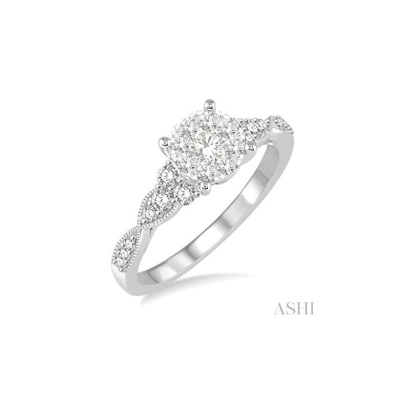 14KY Round Cut Diamond Lovebright Engagement Ring w/ 0.50 ctw, Size 7