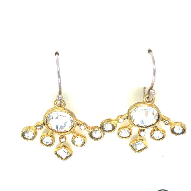 Waxing Poetic Sterling Silver & Brass Stardance Earrings w/ Swarovski Crystals