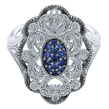 Sterling Silver Vintage Inspired Multi Color Stones Fashion Ring