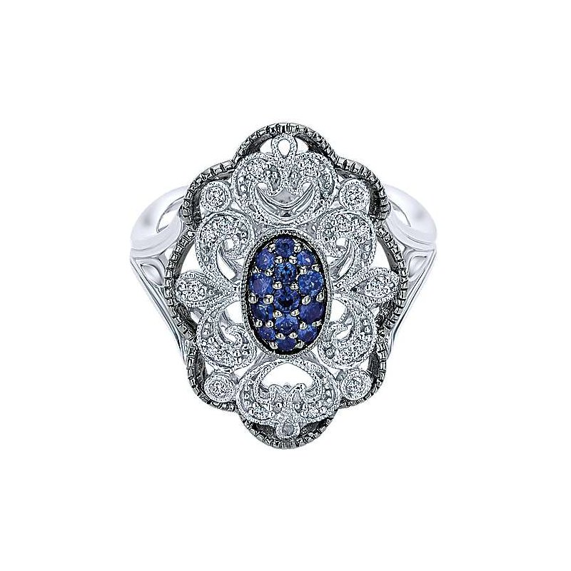 Gabriel & Co. Sterling Silver Vintage Inspired Multi Color Stones Fashion Ring