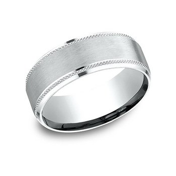 14KW 8 mm Knurl Drop Beveled Edge with Satin Center, Size 10