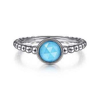 Sterling Silver Rock Crystal and Turquoise Bujukan Ring, Size 6.5