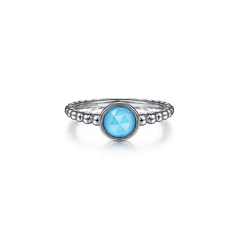 Gabriel & Co. Sterling Silver Rock Crystal and Turquoise Bujukan Ring, Size 6.5
