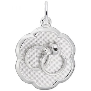 Sterling Silver Wedding Rings Disc Charm