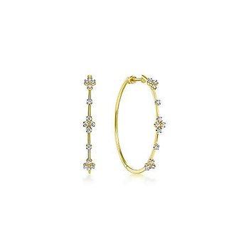 14KY Classic Diamond Round Hoop Earrings w/ 0.52 ctw