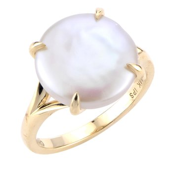 14KY Fresh Water Cultured Coin Pearl Ring w/  12 -- 13 mm Pearl, Size 7