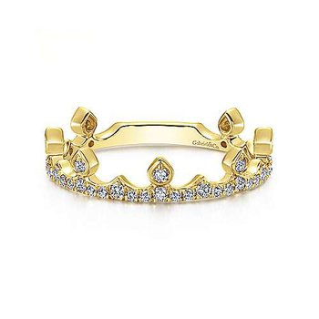 14KY Diamond Crown Ring w/ 0.34 ctw Size 6.5