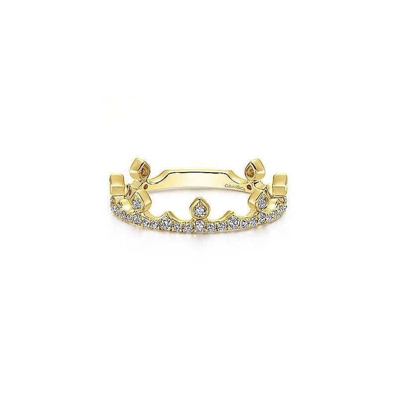Gabriel & Co. 14KY Diamond Crown Ring w/ 0.34 ctw Size 6.5