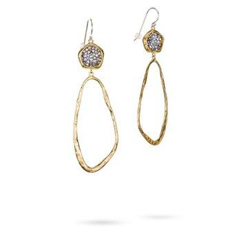 Brass & Sterling Silver Kristal Dream Traveler Earrings w/ Swarovski Crystals