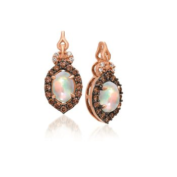 14KR Opal and Diamond Earrings w/ 0.28 ct Dia. & 0.60 ct Opal