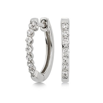 10KW Small Diamond Hoop Earrings w/ 0.20 ctw