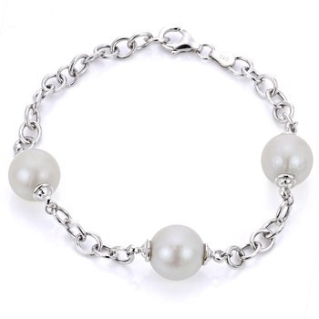 """Sterling Silver White Windsor Fresh Water Cultured Pearl Oval Link Bracelet, 7"""" Chain +1 Extension"""