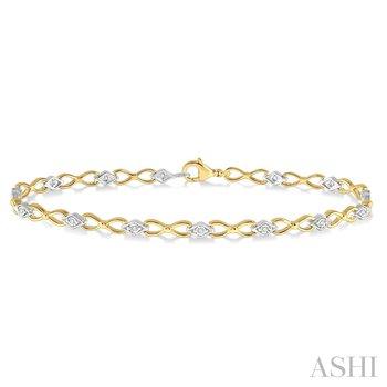 10KY Diamond Illisuion Plate Bracelet w/ 0.10 ctw