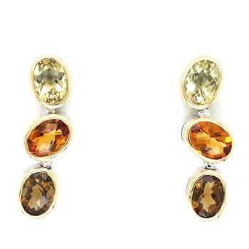 Sterling Silver Genuine Citrine Lemon & Honey 3 Stone Dangle Earrings w/ 18KY Accents