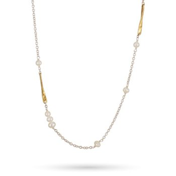 """Sterling Silver & Brass Lume Freshwater Pearls Chain 22"""""""