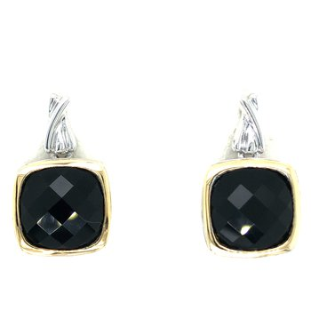 Sterling Silver Black Onyx Dangle Earrings w/ 18KY Accents