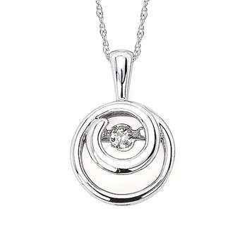 """Sterling Silver Shimmering Diamond Pendant w/ 0.07 ctw, 18"""" Chain"""