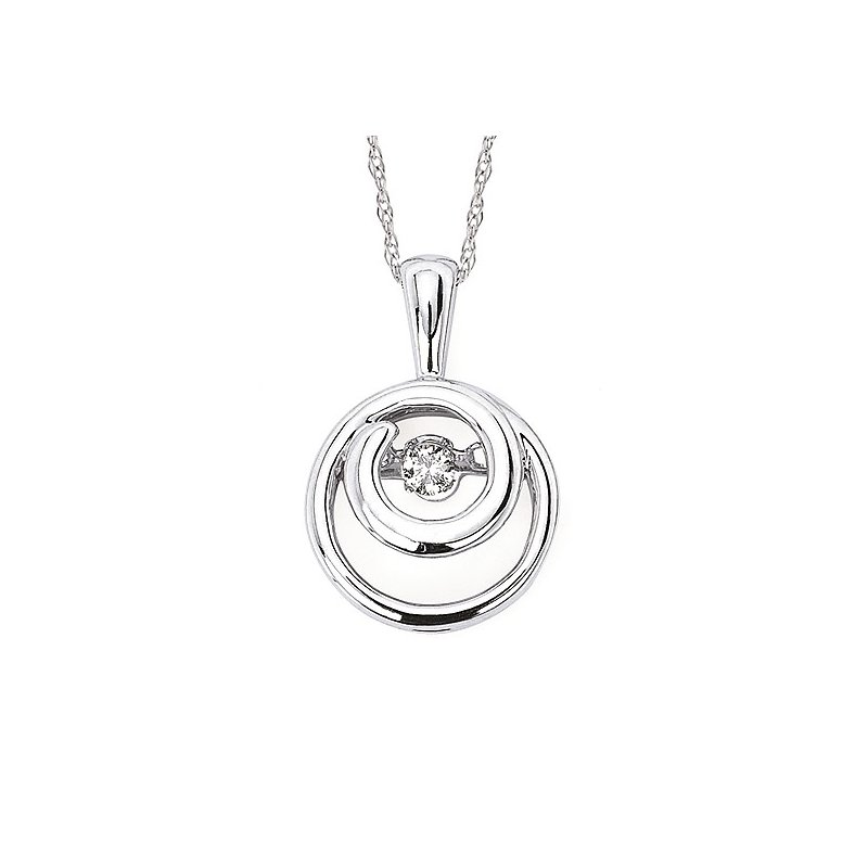 """Green Brothers Collection Sterling Silver Shimmering Diamond Pendant w/ 0.07 ctw, 18"""" Chain"""