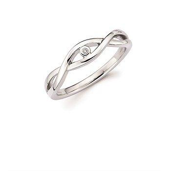 Sterling Silver Diamond Criss-Cross Ring w/ 0.01 ctw, Size 7