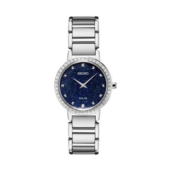 Stainless Steel Swarovski Crystal Solar Watch w/ Blue Glitter Face