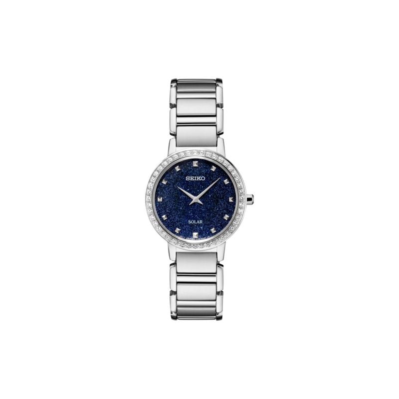 Seiko Watches In Stock Stainless Steel Swarovski Crystal Solar Watch w/ Blue Glitter Face