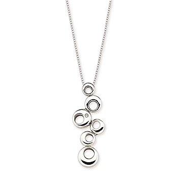 """Sterling Silver Diamond O-Design Fashion Pendant w/ 0.01 ctw, 18"""" Box Chain"""