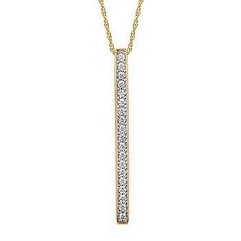 14KY Diamond Vertical Bar Pendant w/ 0.20 ctw